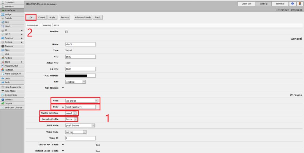 Configuring virtual wireless interface as AP
