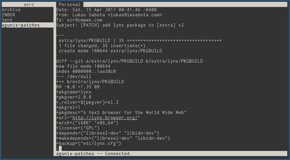 Aerc Terminal Mail Client on Ubuntu 21.04 | lateweb.info